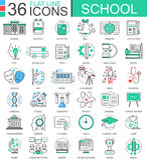 导航学校颜色平的线apps和网络设计的概述象 学校教育用工具加工象 库存照片