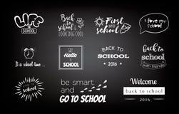 导航学校贴纸,与书法元素的商标 免版税库存照片