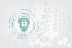 导航安全和圈子在白色背景的技术设计 免版税库存图片