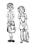 导航小学生、男孩和女孩的例证 免版税库存图片