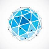 导航尺寸wireframe低多对象,蓝色球状sha 库存例证