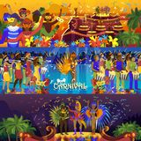 导航巴西狂欢节里约节日庆祝巴西女孩舞蹈家桑巴党carnaval传统服装南部 库存照片