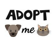 导航平的动画片狗和猫例证象设计 采取我 帮助无家可归的动物概念 查出在白色 向量例证