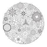 导航彩图长大的和成人的单色花卉装饰样式 免版税库存照片