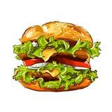导航快餐汉堡包经典汉堡美国乳酪汉堡用莴苣蕃茄葱被隔绝的乳酪牛肉和调味汁 免版税库存照片