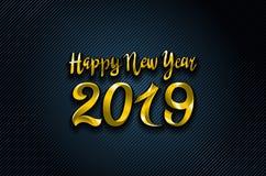 导航您的季节性飞行物和贺卡或者圣诞节主题的邀请的金子2019年新年快乐蓝色背景 皇族释放例证