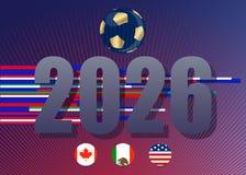 导航您的设计的模板橄榄球,蓝色背景 团结2026面旗子:加拿大、墨西哥和美国 库存图片