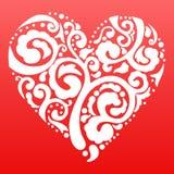 导航情人节有花边的心脏贺卡  免版税图库摄影