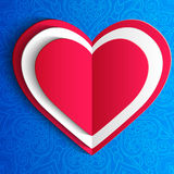 导航情人节有花边的心脏贺卡  免版税库存照片