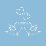 导航愉快的华伦泰` s天卡片的例证 手拉与爱鸟 设计元素为婚姻或情人节 免版税库存图片