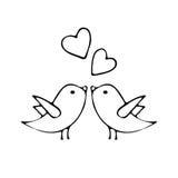 导航愉快的华伦泰` s天卡片的例证 手拉与爱鸟 设计元素为婚姻或情人节 免版税库存照片