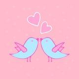 导航愉快的华伦泰` s天卡片的例证 手拉与爱鸟 设计元素为婚姻或情人节 库存图片