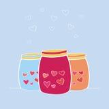 导航愉快的华伦泰` s天卡片的例证 手拉的瓶子或瓶有爱组分的 婚姻或VA的设计元素 免版税库存照片