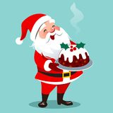 导航愉快的圣诞老人常设holdin的动画片例证 免版税图库摄影