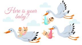 导航愉快的飞行鹳的例证与新出生的婴孩的 鹳鸟在袋子的运载babyboy和babygirl  向量例证