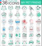 导航我的宠物朋友平的线apps和网络设计的概述象 宠物象 免版税库存图片