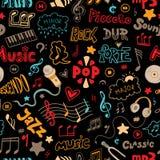 导航手拉的乱画的无缝的样式在音乐题材的 库存图片