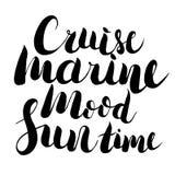 导航手拉的字法-夏时,海洋心情,巡航 被隔绝的书法 图库摄影
