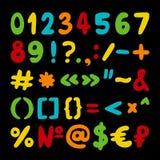导航手拉的数集、标点符号和特殊符号 免版税图库摄影