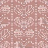 导航手拉的无缝的样式,装饰风格化幼稚心脏 乱画样式,部族图表例证逗人喜爱的手drawi 免版税库存照片