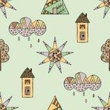 导航手拉的无缝的样式,装饰风格化幼稚房子,树,太阳,云彩,雨乱画样式,图表例证 免版税库存图片