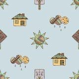 导航手拉的无缝的样式,装饰风格化幼稚房子,树,太阳,云彩,雨乱画样式,图表例证 库存图片