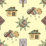 导航手拉的无缝的样式,装饰风格化幼稚房子,树,太阳,云彩,雨乱画样式,图表例证 免版税图库摄影