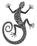 导航手拉的蜥蜴或蝾与种族部族啪答声 库存照片