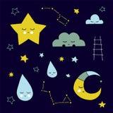 导航手拉的被隔绝的天空元素、云彩和星座、月亮和星 库存照片