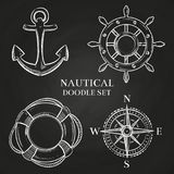 导航手轮、船锚,指南针和lifebuoy 库存例证