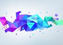 导航抽象五颜六色的蓝色雕琢平面的水晶横幅, 3d与三角的形状,几何,现代模板 库存图片