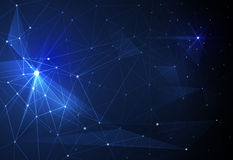 导航抽象分子和通讯技术在蓝色背景 未来派数字技术概念 库存图片