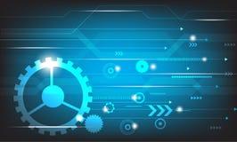导航抽象在蓝色背景的工程学未来技术 图库摄影