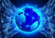 导航抽象未来派全球网络,计算机科技d 免版税库存照片