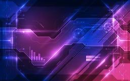 导航抽象未来派电路板,例证高数字技术蓝色颜色 库存照片
