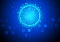 导航抽象未来派电路板,技术创新H 库存照片