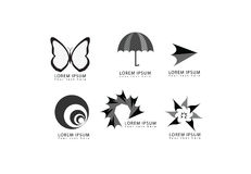 导航抽象蝴蝶,伞,箭头,回合,圈子,星,漩涡形状为公司和企业身分设置的商标象 图库摄影