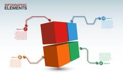 导航抽象3d箱子infographic元素, 4选择 图库摄影