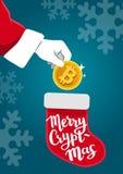导航拿着一金黄bitcoin的圣诞老人手的例证 库存照片