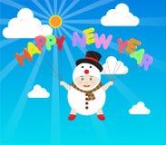 导航拿着在天蓝天的雪人服装的男孩新年快乐气球 免版税库存图片