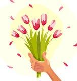 导航拿着春天花的花束人的手的平的例证 库存图片