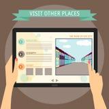 导航拿着现代数字式tabl的手的例证概念 免版税库存照片