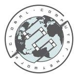 导航描述地球的两个一半的例证连接由导线 库存照片