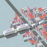 导航描述货物汽车专栏的入口的例证 库存照片