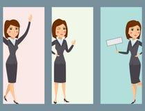 导航摆在女孩的女商人字符剪影常设成人办公室事业 库存图片