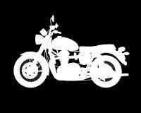 导航摩托车白色剪影在黑背景的 免版税库存图片