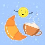 导航新月形面包、咖啡杯和微笑的黄色emoji的例证 库存照片