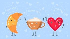 导航新月形面包、咖啡杯和红色心脏的例证 免版税库存照片