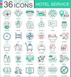 导航旅馆服务平的线apps和网络设计的概述象 旅馆服务象 图库摄影