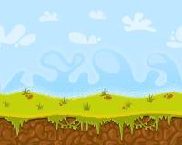 导航无缝的动画片意想不到的风景,游戏设计的无止境的背景 库存例证
